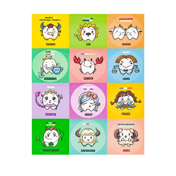 Zodiac Stickers for Children, 12pcs x 10 sheets