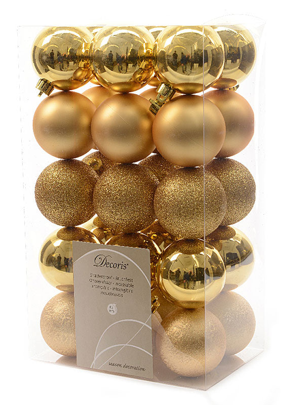 30 x 6cm Mixed Shatterproof Baubles - Gold
