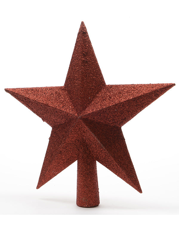 19cm Glittered Shatterproof Tree Top Star - Red