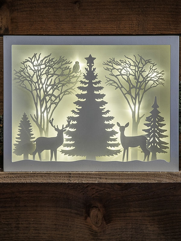 36 x 28.5cm White Framed Backlit Forest Scene
