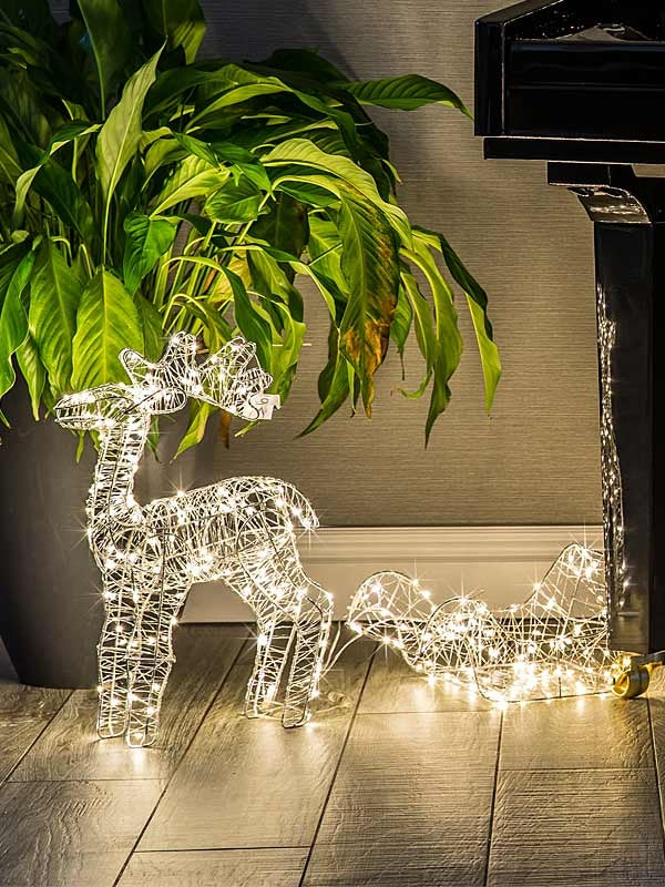 60cm Wire Framed Deer & Sleigh with 280 Warm White Copper Wire Lights