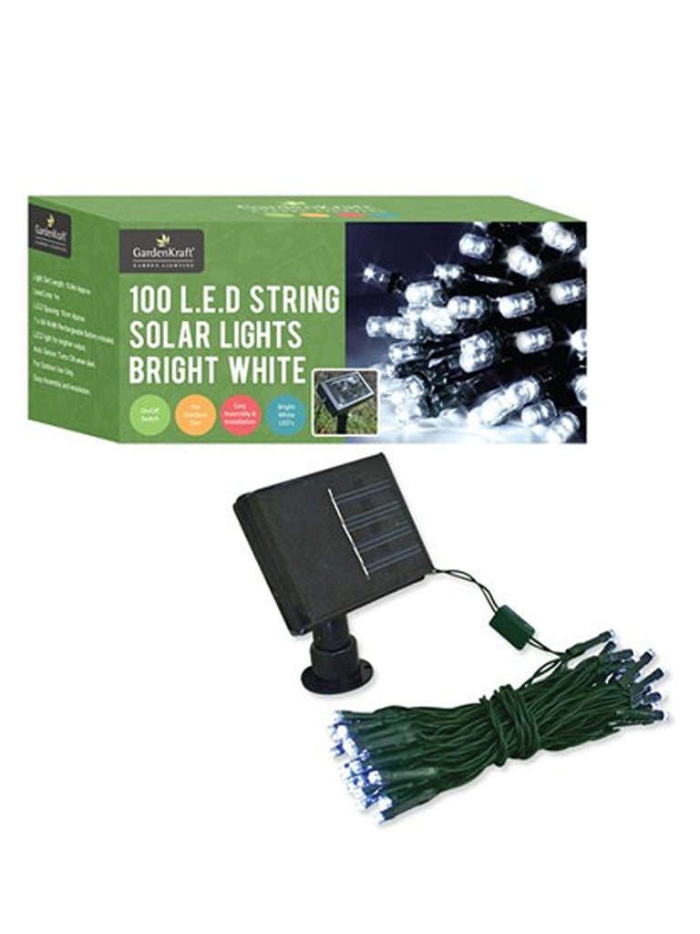 100 LED Solar String Lights - White