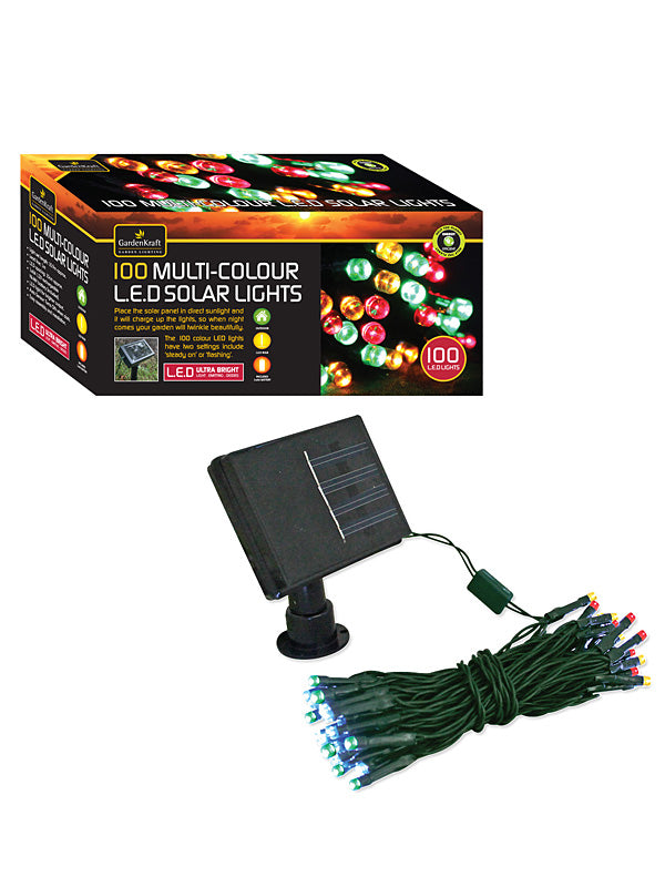 100 LED Solar String Lights - Multi-Coloured