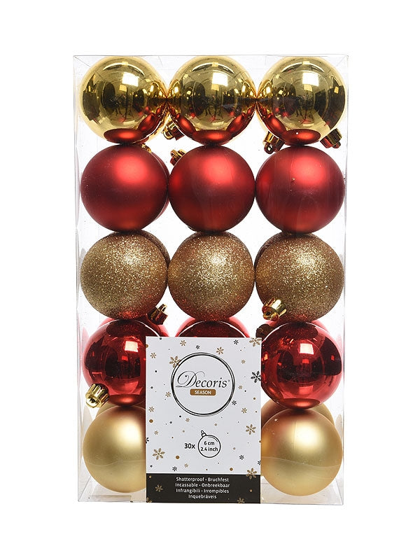 Pk 30 x 60mm Shatterproof Baubles - Red and Gold