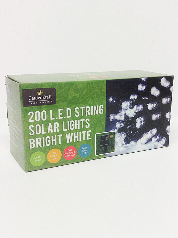 200 LED Solar Christmas String Lights - White