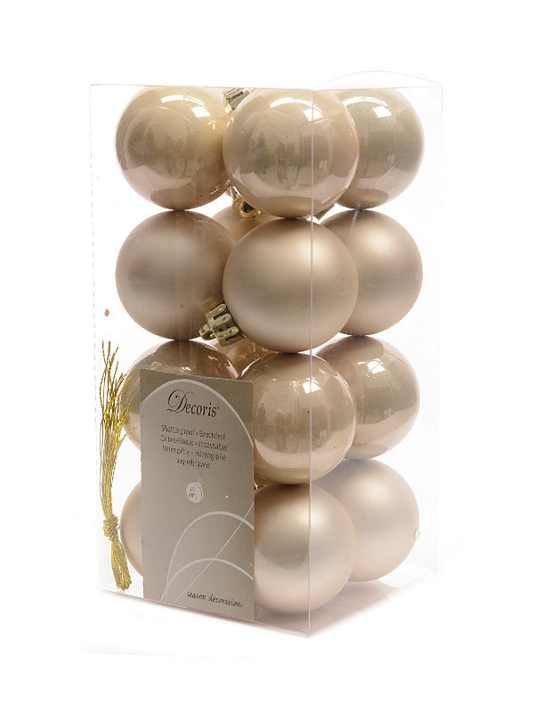 Pk 16 x 40mm Shatterproof Bauble - Pearl