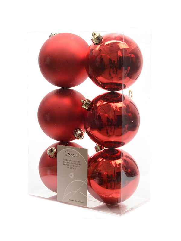 Pk 6 x 80mm Shatterproof Baubles - Christmas Red