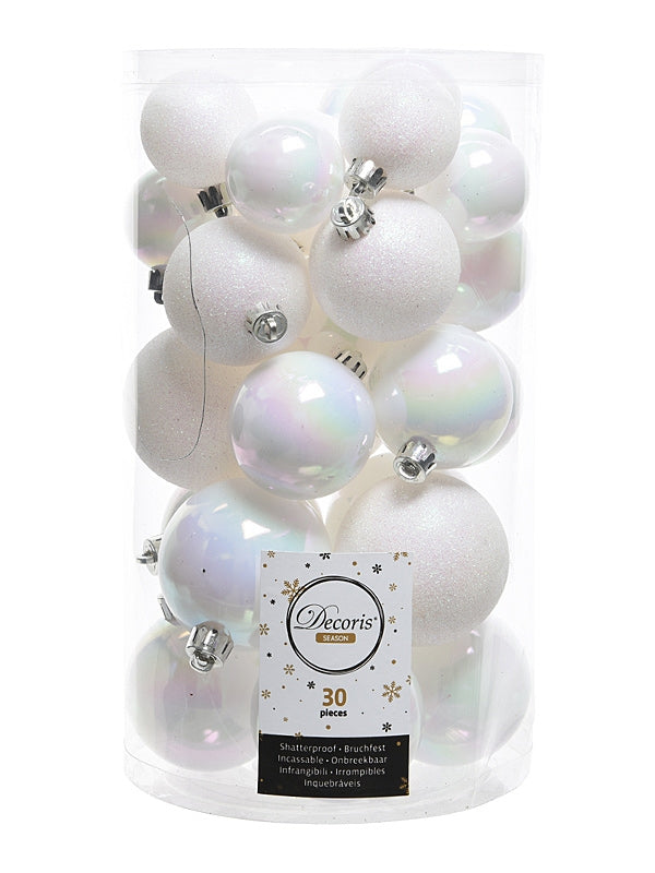 PK 30 Mixed Christmas Baubles - White-Iris