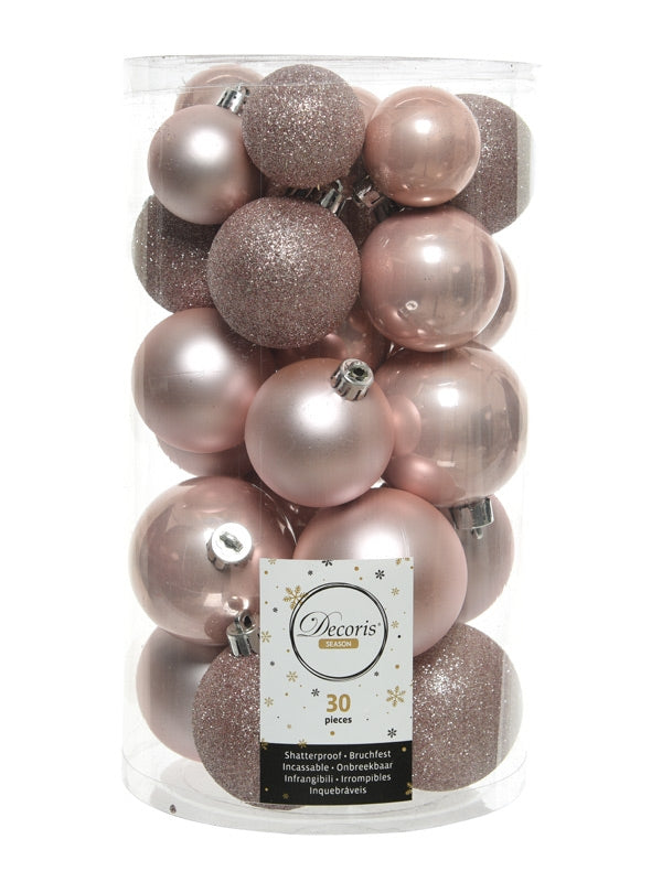 PK 30 Mixed Christmas Baubles - Blush Pink