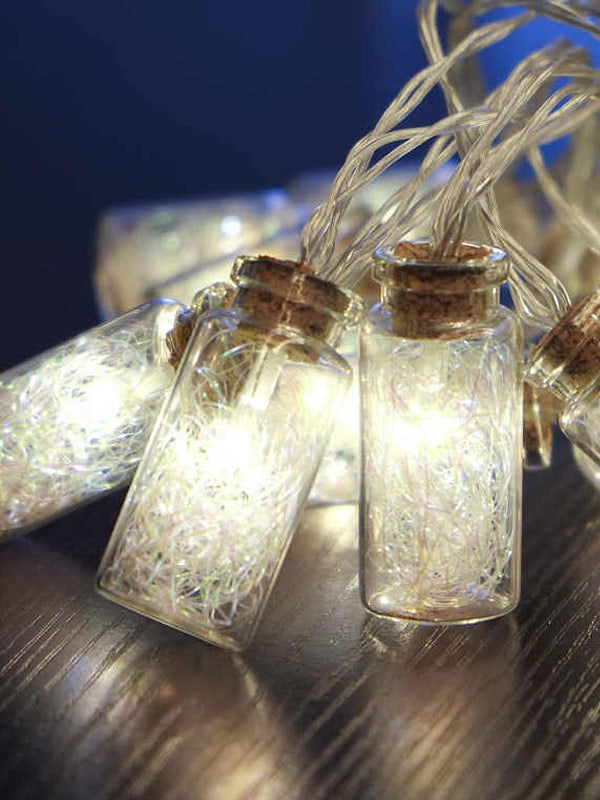 16 LED Battery Operated Glass Jar Lights Chain with Angel Hair