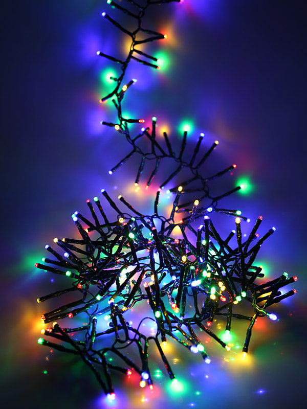 2000 Multi-Action LED Christmas Cluster Lights - Multi-colour