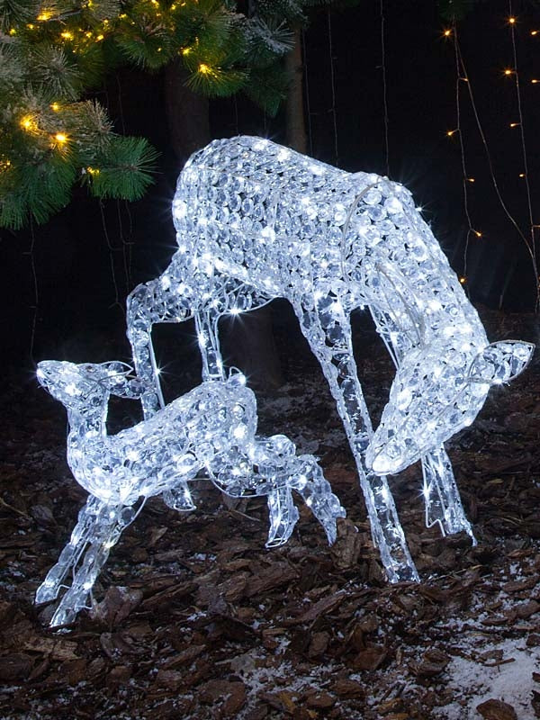 70cm Set of 2 Jewelled Mum & Baby Deer