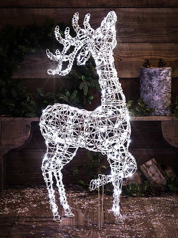 1M White Wicker Effect Standing Deer with 160 LEDs