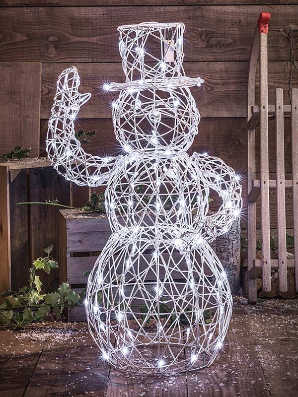 1M White Wicker Snowman with 120 White LEDs