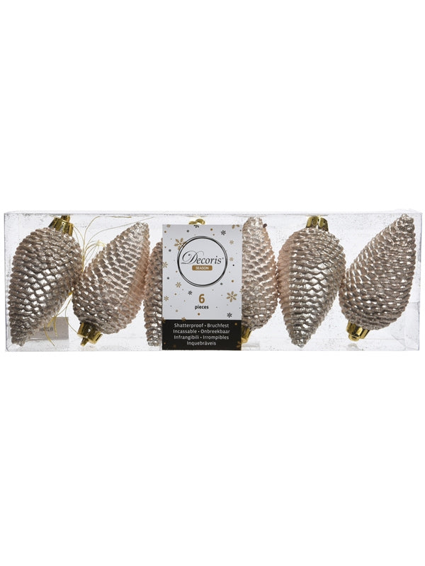 Set of 6 80mm Shatterproof Pinecones - Pearl