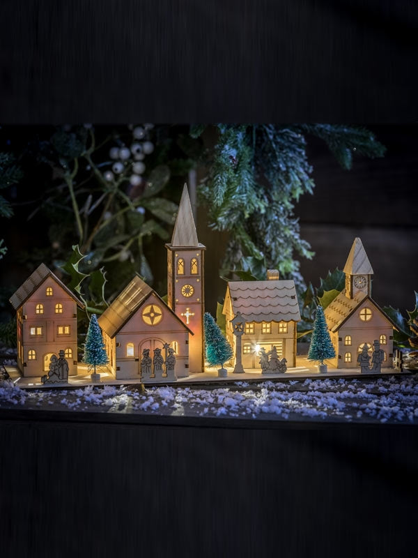 38cm Battery Operated Wooden Houses with Church