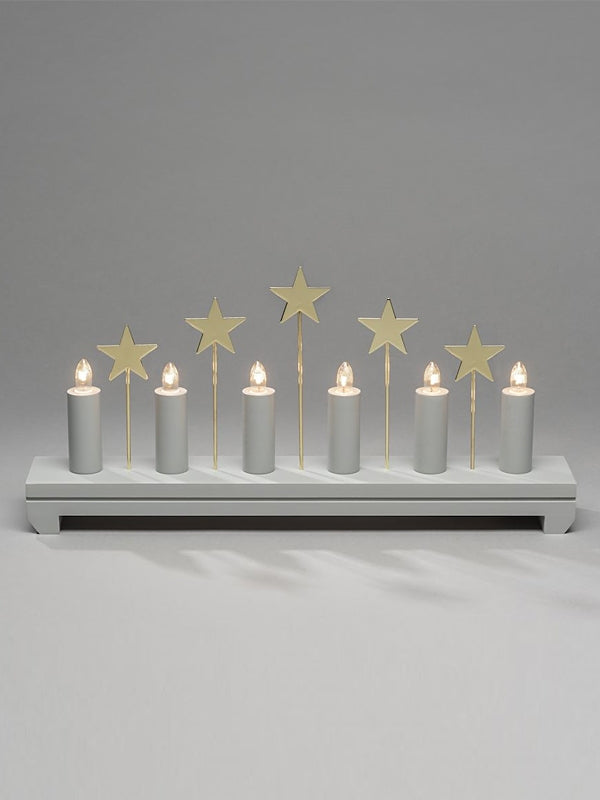 6 Bulb Wooden Candlestick with Stars - Grey