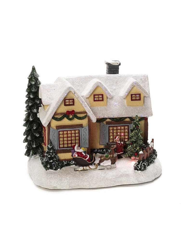 Fibre Optic House 4 LED with Sleigh Scene