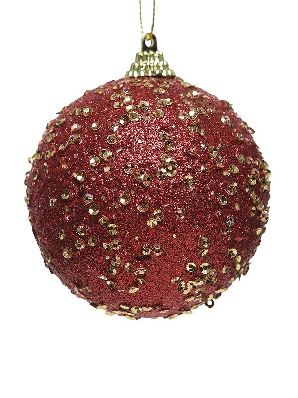 8cm Foam Bauble With Sequins - Red And Gold