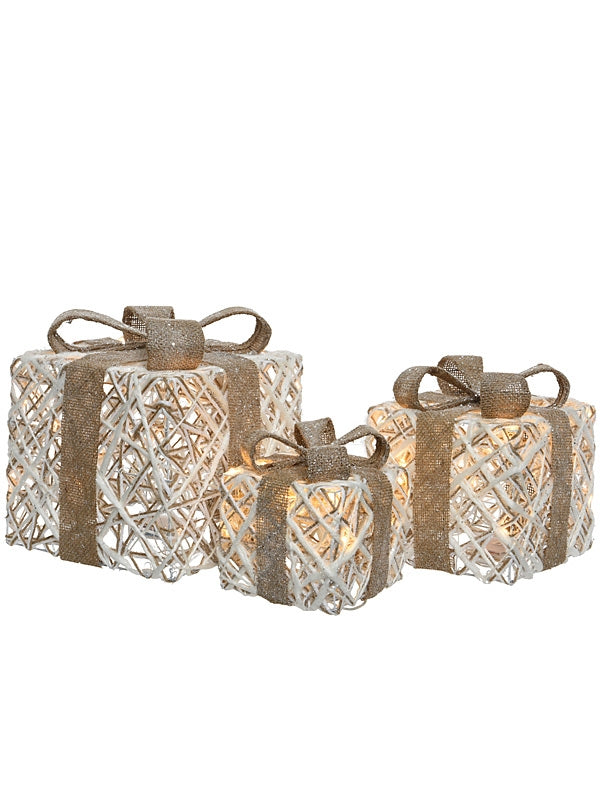 Rattan Set of 3 Giftbox With Warm White LED's