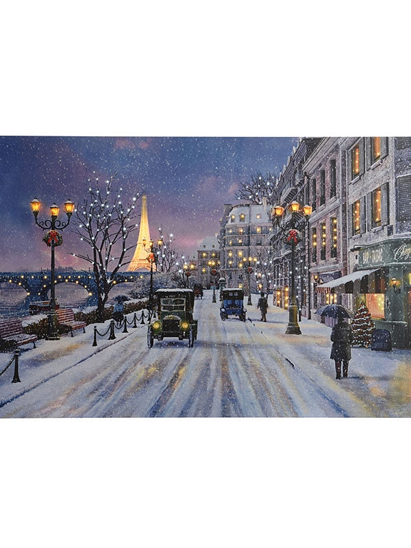 60cm Fibre Optic Paris Scene Canvas