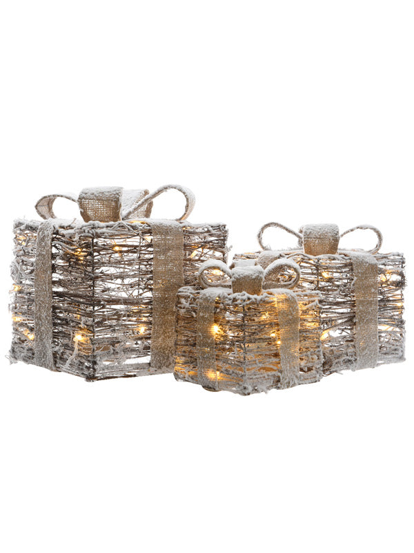 Set of 3 LED Rattan Gift Parcels with Snow