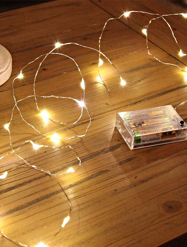 95cm Micro LED String with 20 Lights and Silver Wire - Warm White
