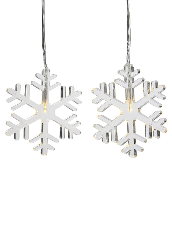 8 LED Snowflake Lights - Warm White