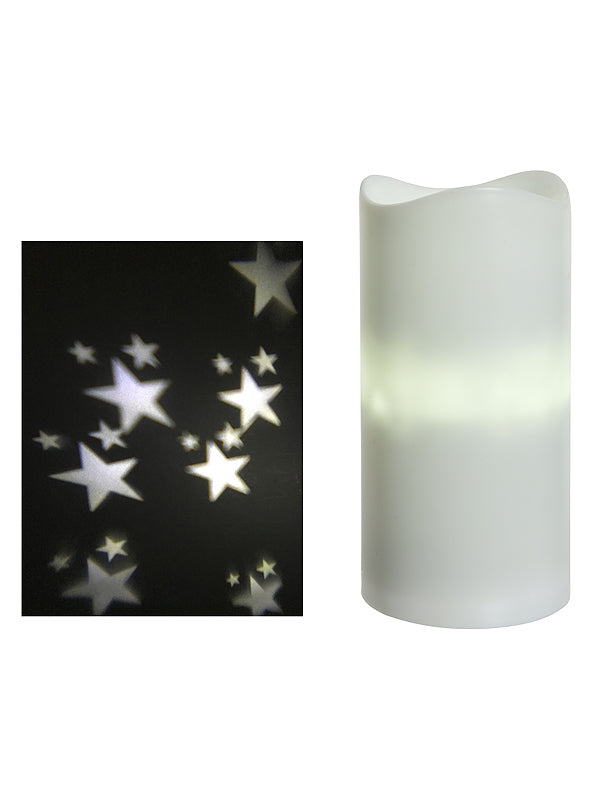 15cm Battery Operated LED Candle Projector With Stars - Warm White