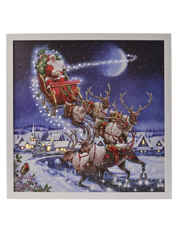 48cm LED Canvas Santa On Sleigh