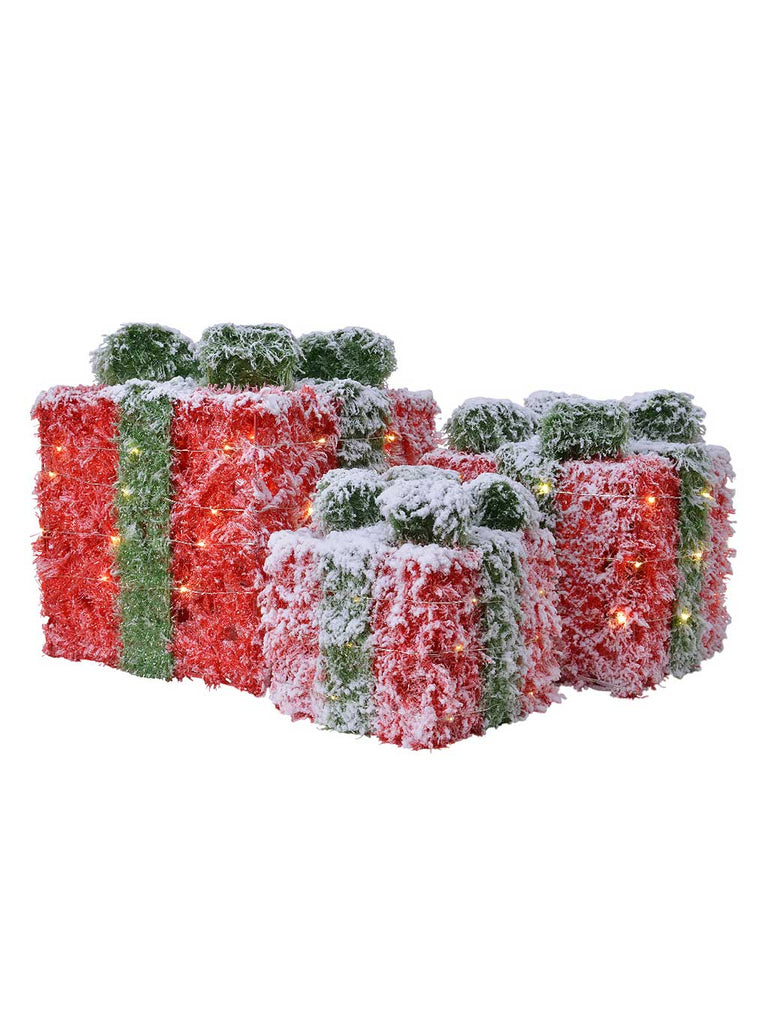 Set of 3 Battery Operated LED Red and Green Tinsel Giftbox with Snowy Finish