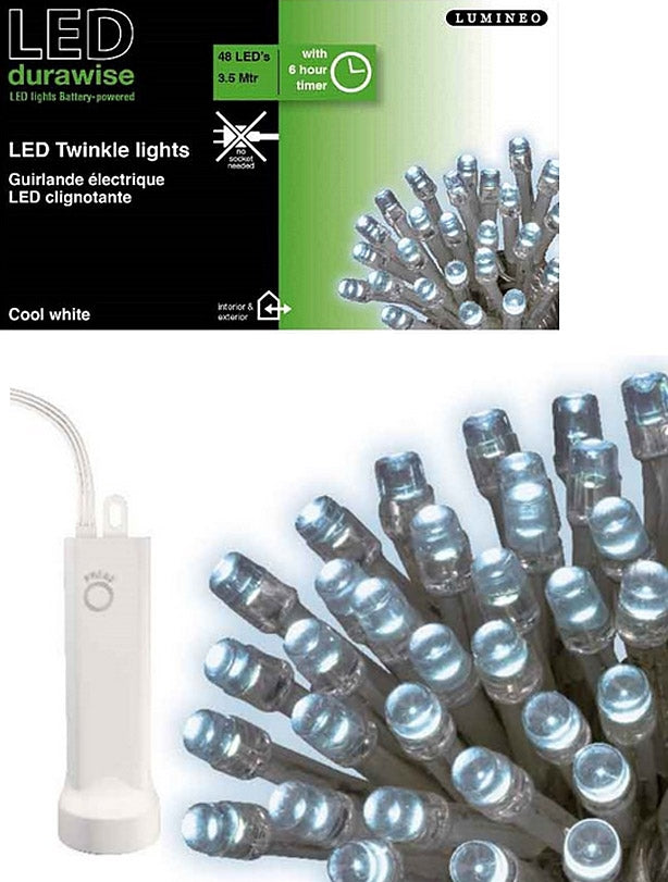 48 LED Twinkling Battery Lights - White with Clear Cable