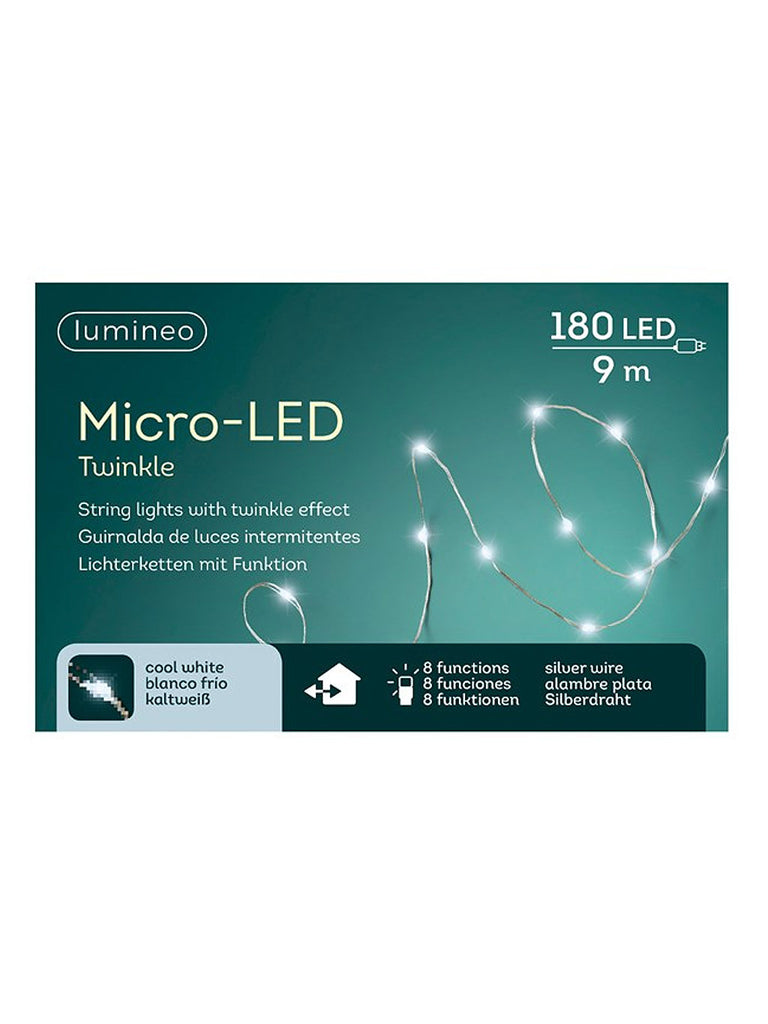 180 Micro LED Twinkle String Christmas Lights - White