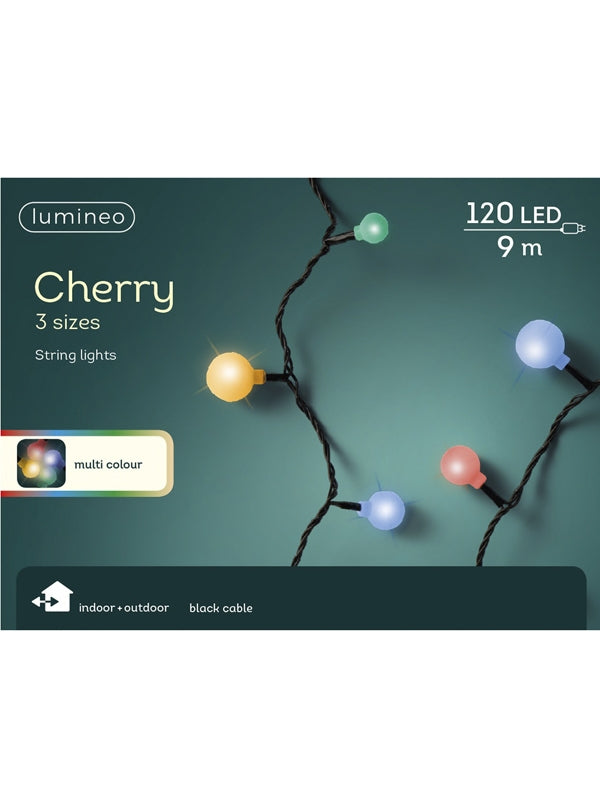 120 Cherry String Lights With 3 Size Cherries - Multi-coloured
