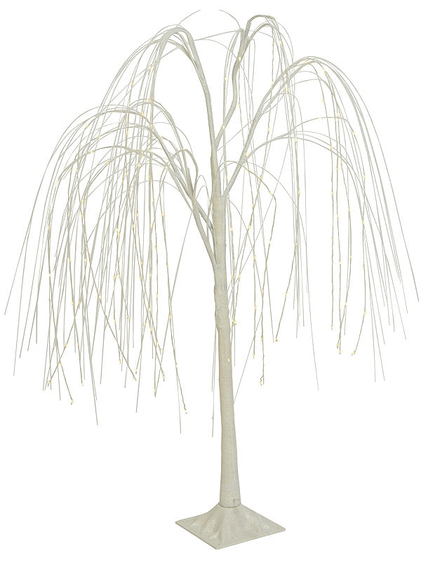 1.5m Micro LED Weeping Willow Irridescent Glitter Branches - White-Warm White Mix