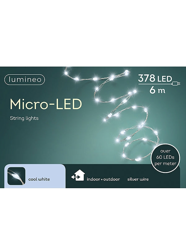 378 Micro LED Extra Bright String Light - White with Silver Cable