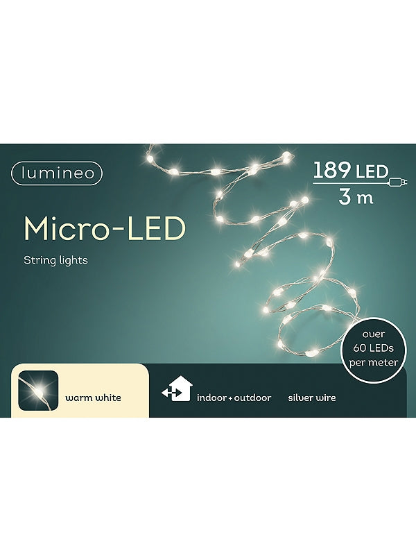 189 Micro LED Extra Bright String Light - Warm White with Silver Cable