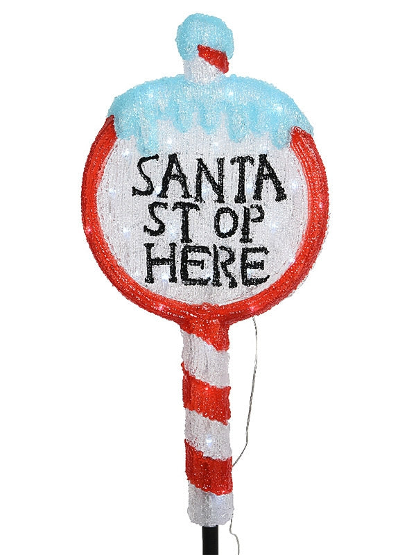 93cm Acrylic Santa Stop Here Sign