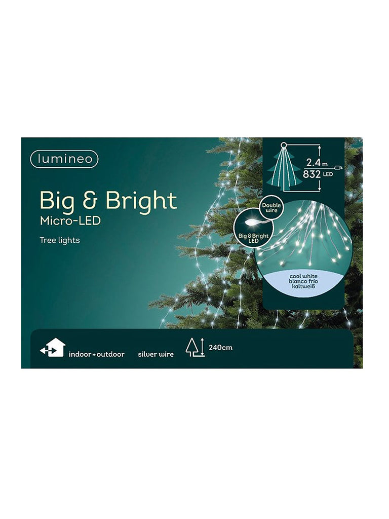 2.4M (8ft) 832 Micro Big Bulb LED Bunch -White/Silver