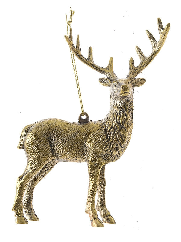 14cm Plastic Deer In Antique Gold