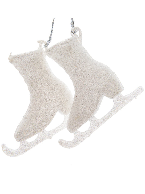 8cm Pair Skates with Glitter - Winter White
