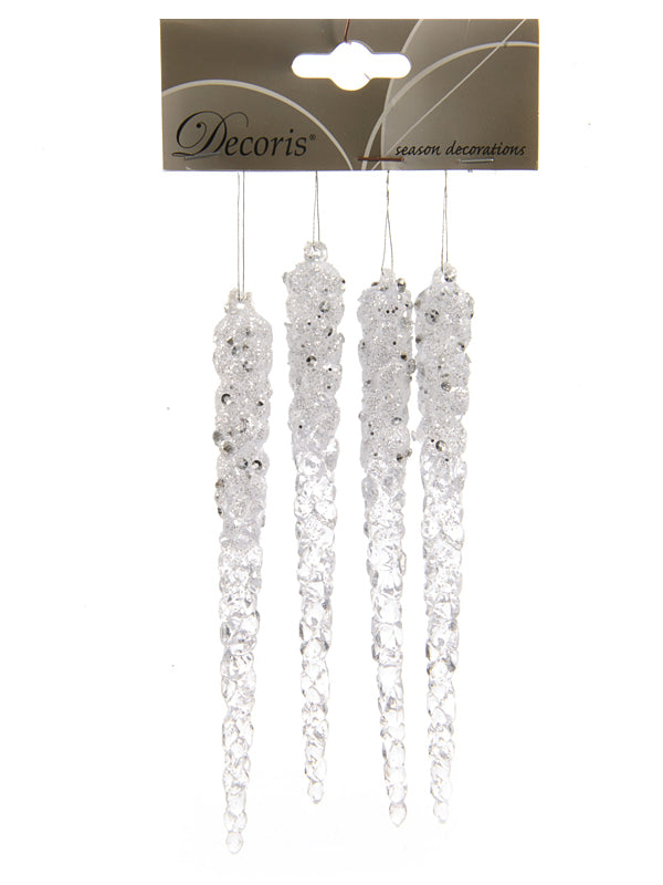 Pk 4 x 15cm Icicles with Diamonds - Clear