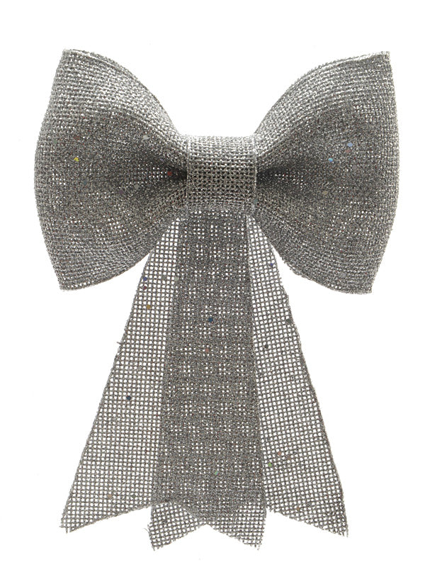 31cm Glitter Bow with Hanger - Silver