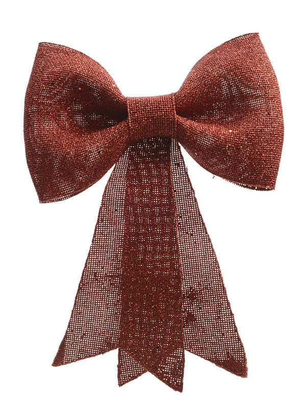 31cm Glitter Bow with Hanger - Red