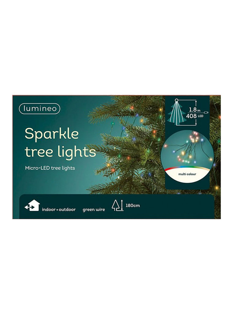 408 Micro LED Tree Lights with Green Cable - Multi-coloured