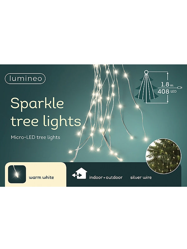 408 Micro LED Tree Lights With Silver Cable - Warm White