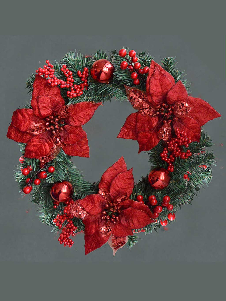 "18"" (46cm) Poinsettia & Berry Wreath"