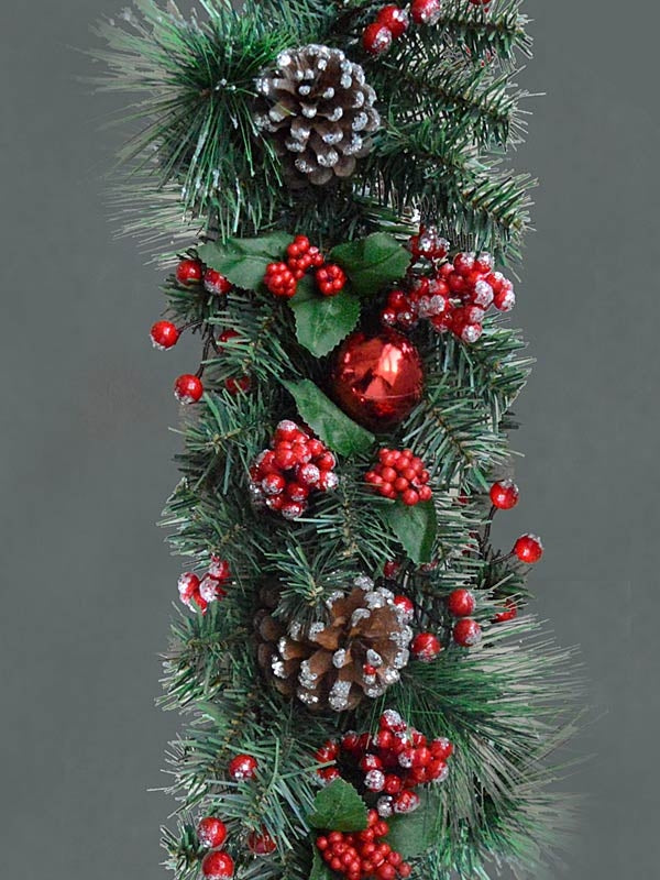 1.8M (6ft) Frosted Cone Berry & Bauble Garland