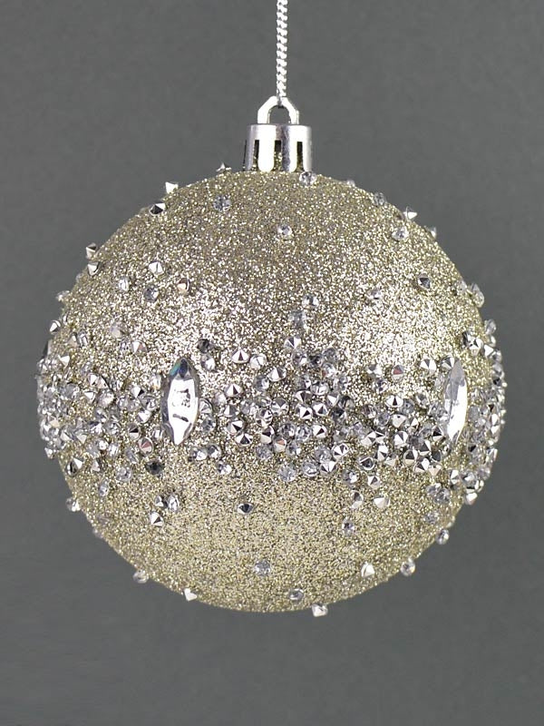 8cm Glam Rock Bauble - Champagne