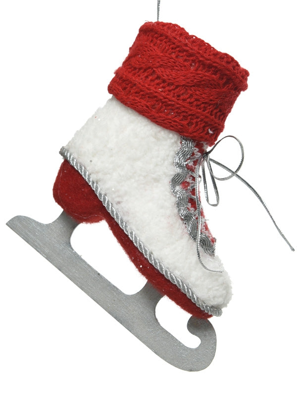 12cm Red And White Ice Skate with Glitter
